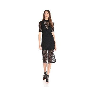ビーシービージェネレーション BCBGeneration レディース V-ネック レース ドレス, ブラック, 4(海外取寄せ品)