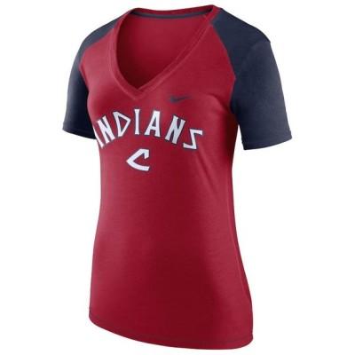 ナイキ レディース MLB Cleveland Indians Nike V Fan V-Neck T-Shirt Tシャツ 半袖 Red/Navy