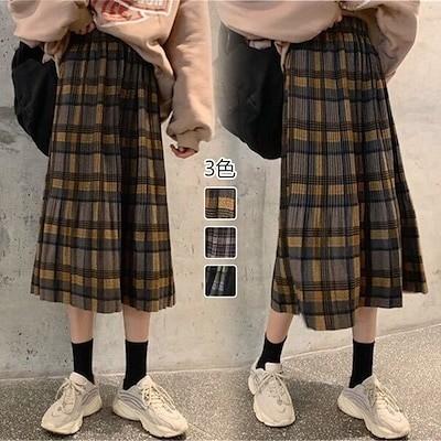 秋冬スカート チェックスカート 秋服ロングスカート韓国ファッションシンプルな秋スカート 韓国
