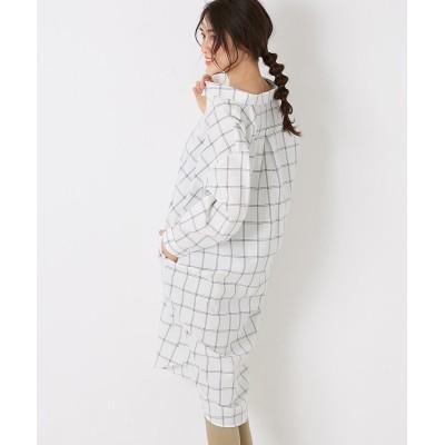 【Green Parks(グリーンパークス)】。抜け襟柄シャツワンピース (ワンピース)Dress