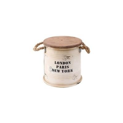 ds-1950881 ビンテージ風 ブリキスツール/収納ボックス 【アイボリー】 直径25cm×高さ26cm スチール製 天然木座面 〔インテリア家具 什器〕