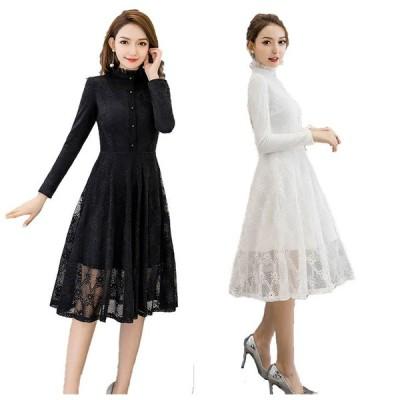 結婚 式 ドレス ぽっちゃり S-5L 白 黒 大きいサイズ レディース 予約 パーティードレス YL-JY-0936 袖あり 長袖 通勤 パーティ