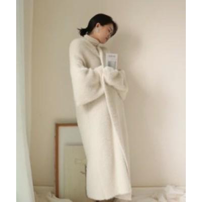 ニットガウン ニットコート 羽織 長袖 オーバーサイズ ニット セーター ロング丈 オーバーサイズ ホワイト トレンド