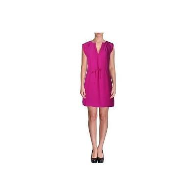 ドレス 女性  海外セレクション Amanda Uprichard 6756 レディース ピンク Gatheレッド ノースリーブ シルク カジュアル ドレス S