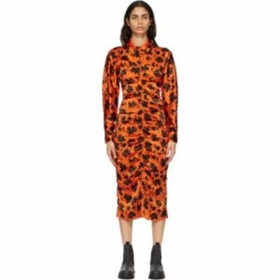 ガニー GANNI レディース ワンピース ワンピース・ドレス Orange and Black Silk Fitted Dress Flame