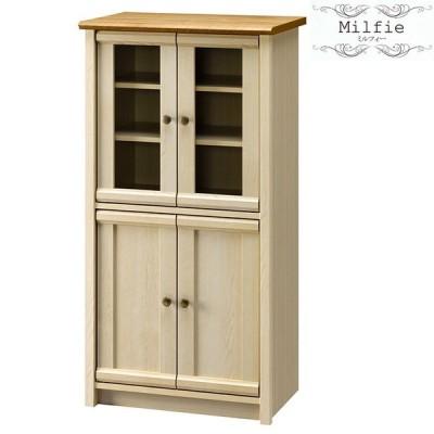 食器棚 フレンチカントリー フリーラック 木製 ガラス扉 おしゃれ 北欧