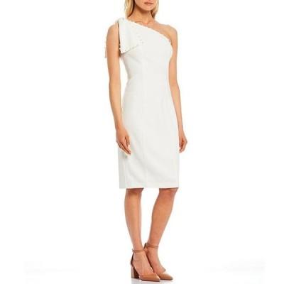 エリザジェイ レディース ワンピース トップス Bow One Shoulder Pearl Trim Sheath Dress