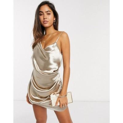 エイソス ASOS DESIGN レディース ワンピース スリップドレス ミニ丈 ワンピース・ドレス Drape Slip Mini Dress In High Shine Champagne Satin シャンパン