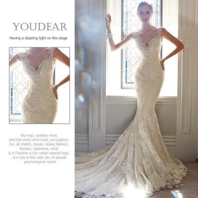 花嫁ドレス ウェディングドレス 二次会 ウエディングドレス マーメイドドレス トレーン ファスナー レース ブライダルドレス ホワイト 大きいサイズtsjy117
