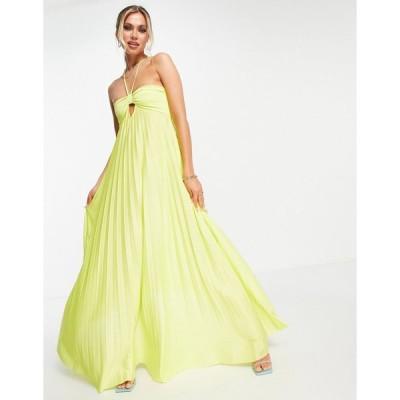 エイソス ミディドレス レディース ASOS DESIGN strappy halter twisted pleated maxi dress in lime エイソス ASOS