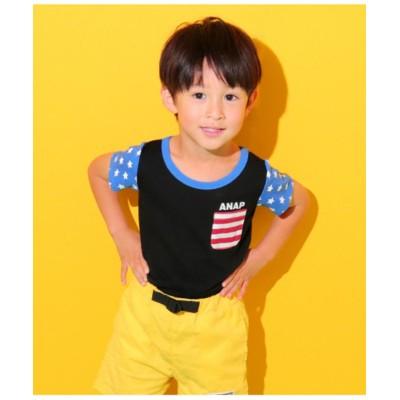 【アナップキッズ】 フラッグパターンTシャツ キッズ ブラック 110 ANAP KIDS