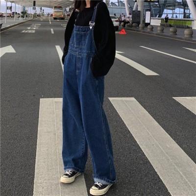 オールインワン サロペット デニム ジーンズ ブルー レディース ファッション
