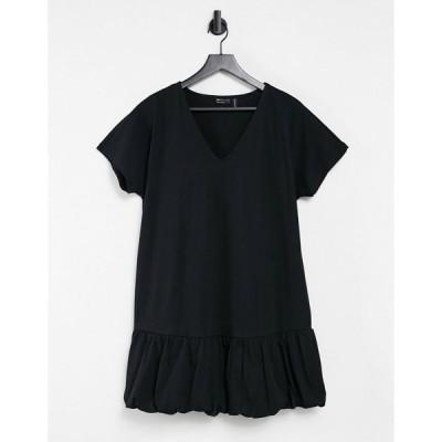 エイソス ミディドレス レディース ASOS DESIGN v neck bubble hem t-shirt dress in black エイソス ASOS ブラック 黒