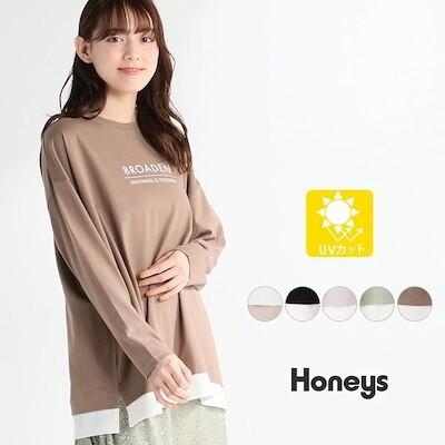 レイヤードロゴTシャツ Tシャツ レディース カジュアル ロゴ UVカット