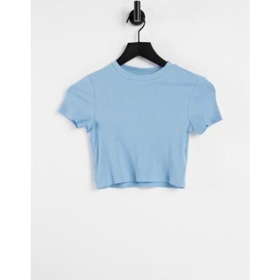 モンキ レディース シャツ トップス Monki Karo organic cotton cropped T-shirt in blue