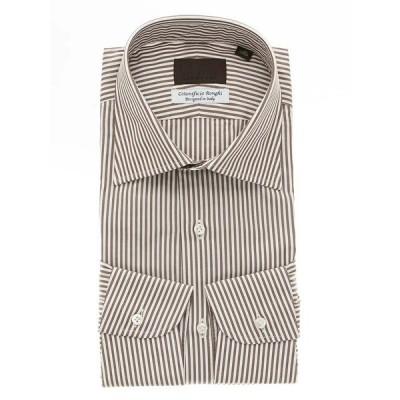 ドレスシャツ/長袖/メンズ/Made in Italy/Cotonificio Ronghi/ワイドカラードレスシャツ ブラウン