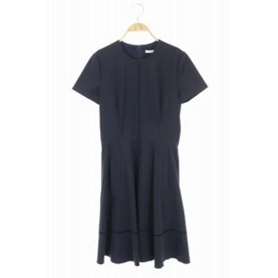 【中古】フォクシーニューヨーク Fagotting Fit and Frave Dress ワンピース ロング 半袖 フレア 切替 40 紺