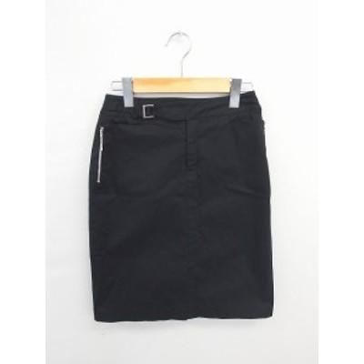 【中古】プロポーション ボディドレッシング PROPORTION BODY DRESSING スカート ひざ丈 タイト スリット 無地 綿 3 黒