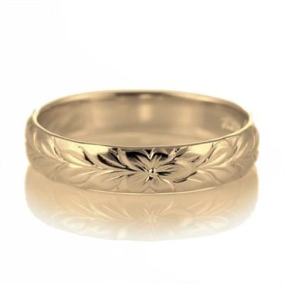 ハワイアンジュエリー メンズ 指輪 イエローゴールド 18金 幅約4mm マイレ ハワジュ【今だけ代引手数料無料】