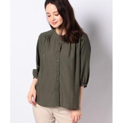 【プチ オンフルール】 ノーカラーギャザーシャツ レディース カーキ 9号 Petit Honfleur