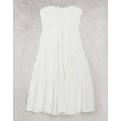 エイソス ミディドレス レディース ASOS DESIGN tiered skirt bandeau midi sundress in white エイソス ASOS ホワイト 白