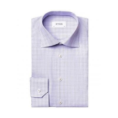 Eton イートン メンズ 男性用 ファッション ボタンシャツ Slim Fit Double Checked Twill Shirt - Purple