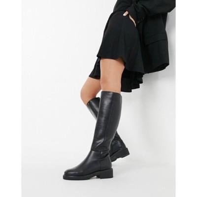 ロンドンレベル レディース ブーツ・レインブーツ シューズ London Rebel flat pull on knee boots in black