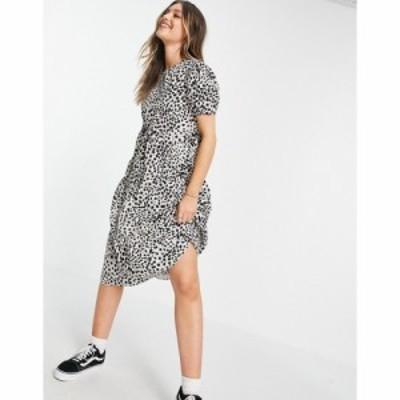 インフルエンス Influence レディース ワンピース Aライン ワンピース・ドレス Puff Sleeve Tiered Midi Dress In Animal Print マルチ