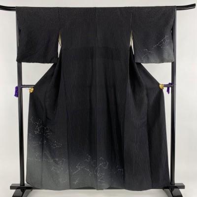 訪問着 逸品 星座 縦縞模様 ラメ 銀糸 黒 袷 身丈155cm 裄丈66cm M 正絹 【中古】