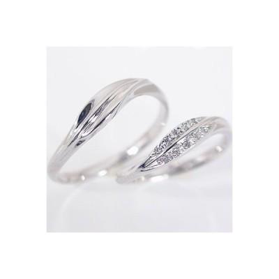 ホワイトゴールド ダイヤモンド 結婚指輪 マリッジリング ペアリング ペア2本セット K10wg ダイヤ 0.05ct