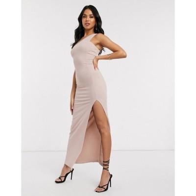 アックスパリス ミディドレス レディース AX Paris one shoulder maxi dress in light pink エイソス ASOS