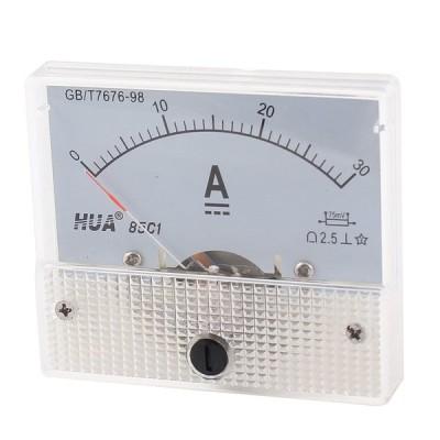 uxcell 電流計 DC 0-30A アナログ 電流測定 56g クリア 金属 プラスチック