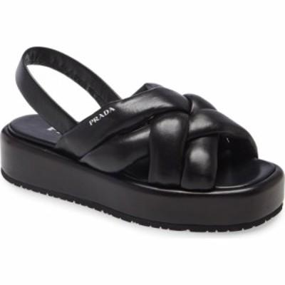 プラダ PRADA レディース サンダル・ミュール シューズ・靴 Woven Slingback Platform Sandal Nero