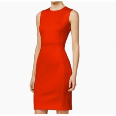 Calvin Klein カルバンクライン ファッション ドレス Calvin Klein Womens Sheath Dress Red Size 8P Petite Seamed Sleeveless