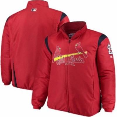 Majestic マジェスティック アウターウェア ジャケット/アウター Majestic St. Louis Cardinals Red Big & Tall On-Field Premier Full-Z