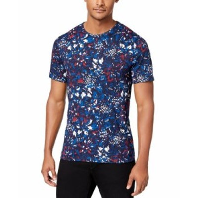 Michael Kors マイケルコルス ファッション トップス Michael Kors NEW Blue Mens Size Large L Floral Graphic Tee T-Shirt