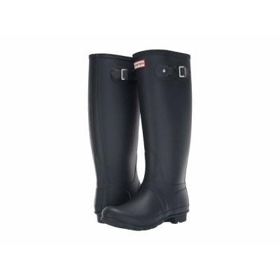 ハンター ブーツ&レインブーツ シューズ レディース Original Tall Wide Leg Rain Boots Navy