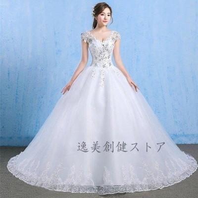 新作 ホワイト ウエディングドレス トレーン ドレス レディース レース 花柄 花嫁 大きいサイズ ロング丈 姫 結婚式 ドレス 披露宴 演奏会