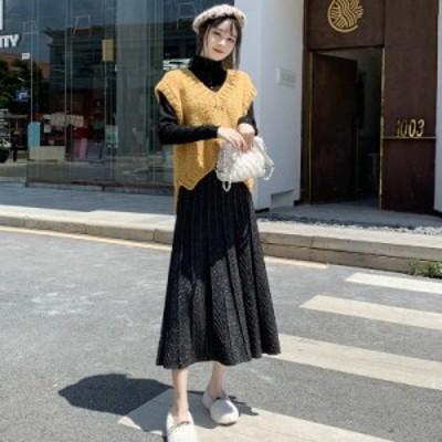ニット フレアスカート レディース ロングスカート ボトムス ハイウエスト ニット 無地 上品 通勤 オフィス シンプル 韓国ファッション