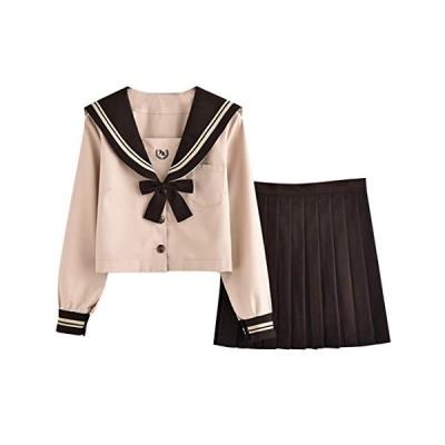 GESCHESK セーラー服 前開き 茶色 半袖 長袖 スカート コーヒー リボン 3点セット 白い襟 可愛い 制服 本格制服 JK制服 女