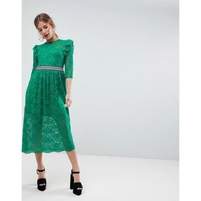 【残り1点!】【サイズ:UK4】エイソス ASOS レディース ワンピース・ドレス ワンピース Midi Lace Tea Dress with Sports Tipping