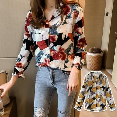 ☆無敵のおしゃれ感 /花柄シャツ オールシーズントップス ロングシャツ 長袖 薄手 レディース ブラウス 韓国ファッション 大きいサイズ