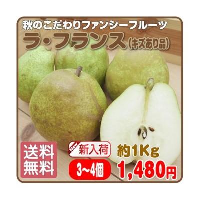 秋のファンシーフルーツ 送料無料 ラ・フランス(キズあり品) 3〜4玉 約1Kg 岩手県産