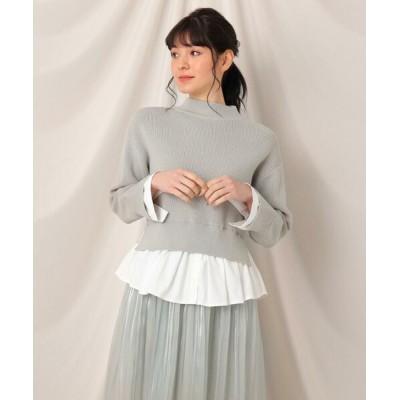 Couture Brooch/クチュールブローチ ニットシャツドッキングプルオーバー ライトグリーン(021) 42(LL)
