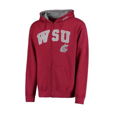 カレッジ NCAAWashington State Cougars Crimson Arch & Logo Full-Zip Hoodie