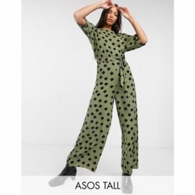エイソス ASOS Tall レディース オールインワン ジャンプスーツ ワンピース・ドレス ASOS DESIGN tall tie waist jumpsuit in khaki grap