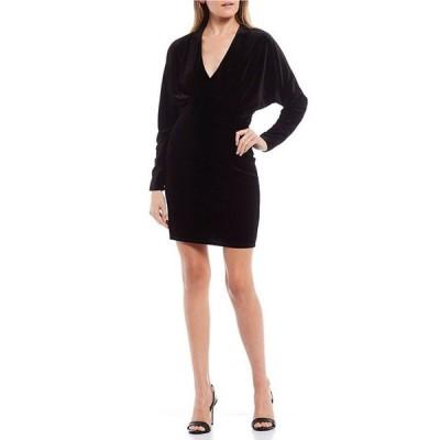 ジービー レディース ワンピース トップス Deep V-Neck Long Sleeve Velvet Sheath Dress