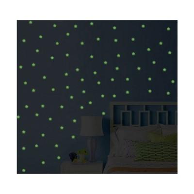 ウォールステッカー 星空 蓄光シール お星様 綺麗で楽しい 混色 約100枚入 暗闇で光る 蛍光
