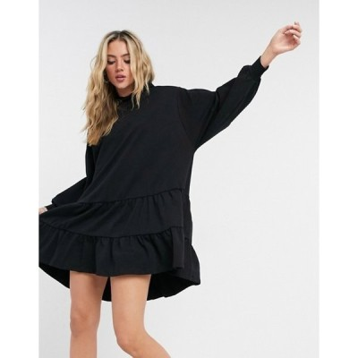 エイソス レディース ワンピース トップス ASOS DESIGN tiered hoodie sweatshirt dress in black