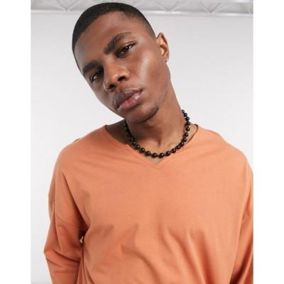エイソス 長袖Tシャツ メンズ ASOS DESIGN oversized long sleeve t-shirt with raw notch neck in rust エイソス ASOS